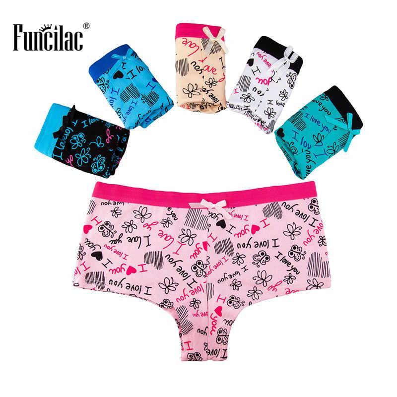 58e947b9e Detail Feedback Questions about FUNCILAC Woman Underwear Print Boyshort  Sexy Briefs Cute Bowknot Underpants Girls Panties Ladies Cotton Knickers  5Pcs Lot on ...