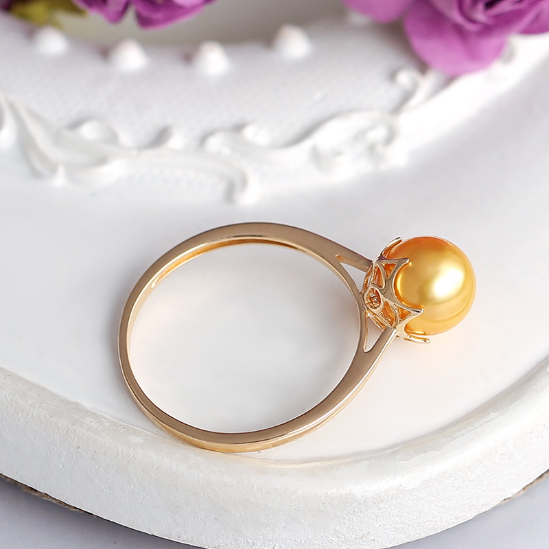 YS 14k Solid Gold 7-7.5mm Japanese Akoya Pearl Ring Wedding Fine Jewelry