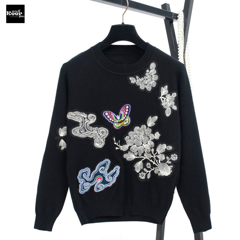 2018 Autumn New Fashion Sweater Female Embroidery Clouds Butterfly Birds Knitted Sweaters Pullover Runway Designer Tops Jumper