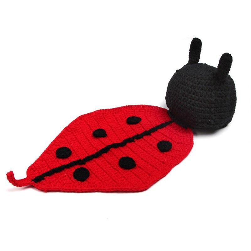 Ladybug baby girl photo props handmade toddler crochet knit animal costumes newborn photography props fotografia