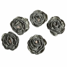 цены 10pcs/lot 1.4inches 3Colors DIY Multi-Layered Fabric Satin Burned Flowers Flat Back Hair Accessory Kidocheese