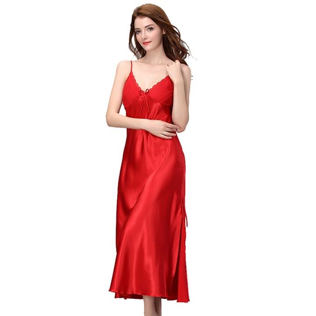 bfca831c6 Brand New 2018 Long Satin Nightgown Women Night Dress Sleepwear  Ankle-Length Spaghetti Strap Sexy