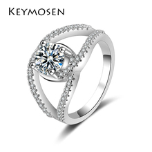 KEYMOSEN New Design hot sale Fashion Alloy Crystal Rings White  Color Infinity Ring Statement jewelry Wholesale for women Jewelr