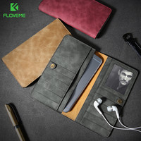FLOVEME Retro Wallet Case For Samsung S8 Huawei P10 PU Leather Phone Pouch For IPhone 5