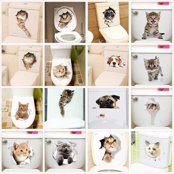 цена на Cute Cat Dog Toilet Stickers Home Decoration Diy Funny Cartoon Animal Wc Mural Art Vivid 3d Kitten Puppy Safari Pvc Wall Decal