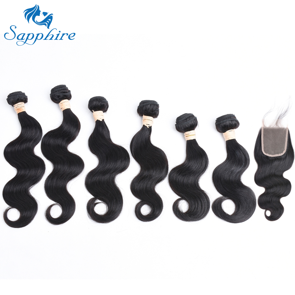 Sapphire Malaysian Body Wave 6 Human Hair Extension Bundles with Free Middle Three Part 4 4