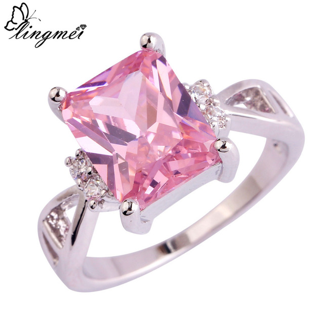 lingmei $0.99 Big Promotion Wholesale Pink & White CZ Silver Color Ring Size 6 7