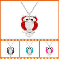 New Brand Quality Enamel Crystal Owl Necklaces Pendants Silver Long Chain Rhinestone Owl Necklace Statement Women Jewelry Gift