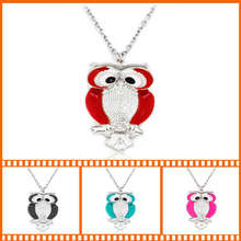 2014 New Multi Colors Crystal Owl Necklaces & Pendants Woman, Discount Rhinestone Antique Silver Chain Owl Necklaces For Women цена 2017