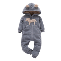 2018 Baby Clothes Cotton Hooded Long Sleeve One Piece Romper Gray Cute Deer Model Winter Spring