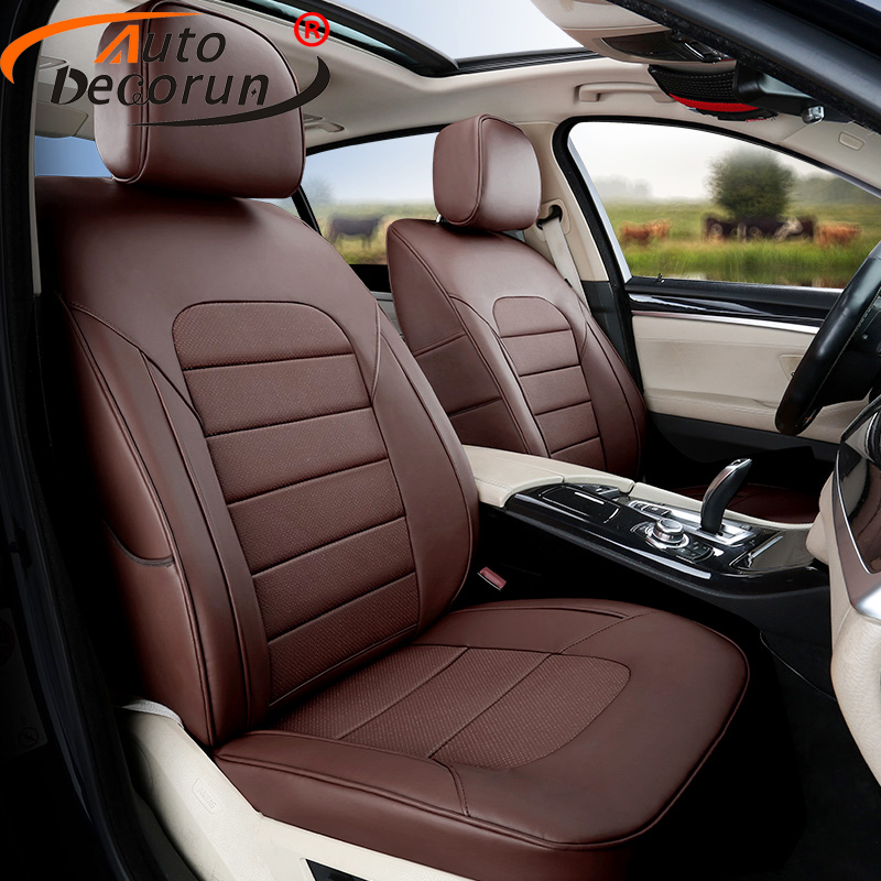 AutoDecorun 12PCS/Set Genuine Leather Seat Covers For