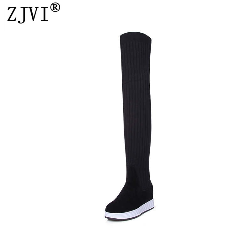 ZJVI women suede genuine leather over the knee boots woman 2018 winter autumn thigh high stretch wool socks boots women shoes yougolun women nubuck thigh high boots ladies autumn winter boots woman over the knee boots women 2017 square high heels shoes