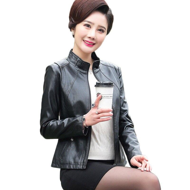 ผู้หญิงหนังแจ็คเก็ต Plus ขนาดเสื้อแจ็คเก็ต 2019 ใหม่ Faux หนังแจ็คเก็ตผู้หญิงฤดูใบไม้ร่วงซิป Slim Coat M 5XL f485-ใน หนังและหนังกลับชนิดนิ่ม จาก เสื้อผ้าสตรี บน   1
