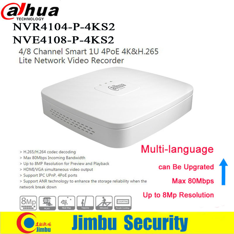 Dahua NVR Network Video Recorder 4K 4 PoE port NVR4104-P-4KS2 4Ch NVR4108-P-4KS2 8CH Ports Smart Mini 1U Up to 8MP IP Camera DVR new hot sell dahua 8ch nvr h 264 1080p network video recorder nvr4108 8p smart 1u support english firmware and onvif