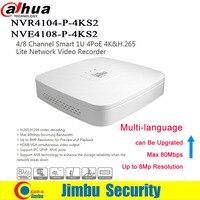 Dahua NVR DVR сети видео К регистраторы 4 к PoE порты и разъёмы NVR4104 P 4KS2 4Ch NVR4108 P 4KS2 8CH Smart мини 1U до 8MP IP камера