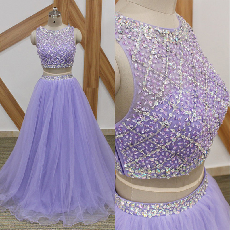 Lavender Long Prom Dresses Sparkly Beaded Top 2 Pieces Prom Dress