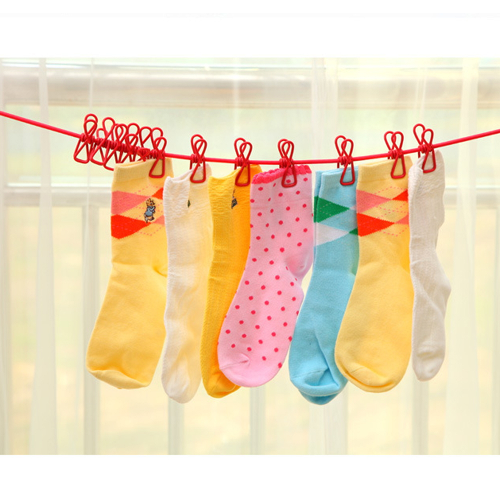 2018 Hotselling 185cm Portable Multifunctional Drying Rack Clips Cloth Hangers Steel Clothes Line Pegs Travel Clothespins -35