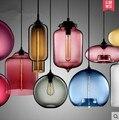 7 cor 13 estilo Peixinho tigela de vidro pingente lâmpada simples moderno Escandinavo moda café restaurante gama completa de restaurantes