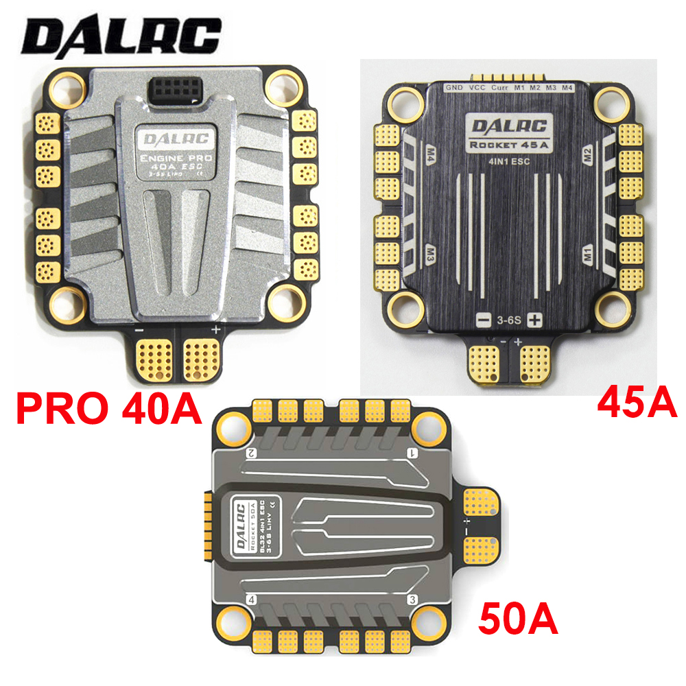 DALRC 4 in 1 ESC 40A 45A 50A ESC 4 in 1 Brushless 3-6S Blheli_32 LIHV DSHOT1200 Ready for FPV Racing Compatiable w/ F405 F722 FCDALRC 4 in 1 ESC 40A 45A 50A ESC 4 in 1 Brushless 3-6S Blheli_32 LIHV DSHOT1200 Ready for FPV Racing Compatiable w/ F405 F722 FC