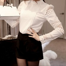 Fashion Ladies White Blusas Long Sleeve Lace Crochet Blouses Women Clothing Feminine Blouse