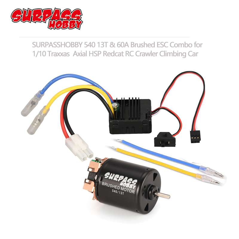 SURPASS HOBBY 540 13T 17T 21T 23T 27T 35T 45T Brushed Motor with 60A ESC 5V/2A BEC for 1/10 RC Off road Racing Car Truck-in Parts & Accessories from Toys & Hobbies