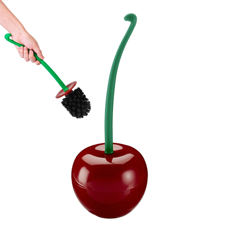 NEW 1PC Lovely Cherry Shaped Toilet Brush Lavatory Cleaning Tool Washroom Brush W/Holder Plastic Bathroom Decor Accessories