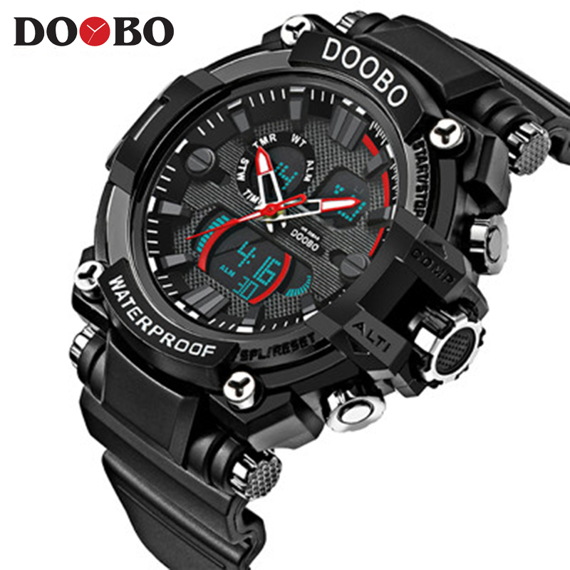 2017 Men Quartz Digital Watch Men Sports Watches Relogio Masculino DOOBO S Shock Relojes LED Military Waterproof Wristwatches