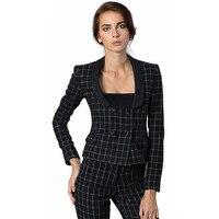 Черный и белый шахматный узор Для женщин Бизнес Костюмы офисные костюмы для торжественных случаев работы двубортный Для женщин Брюки для д