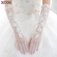 White Bridal Gloves Finger Wholesale Elegant Lace Appliques Crystal Bridal Gloves Wedding Accessories 2016