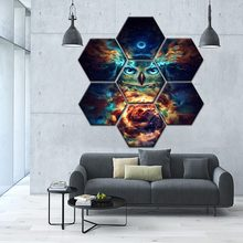 Modular Picture One Set 7 Pieces Eagle Animal Poster Wall Art Home Decorative Canvas Print Psychadelic Starry Sky Cloud Painting(China)