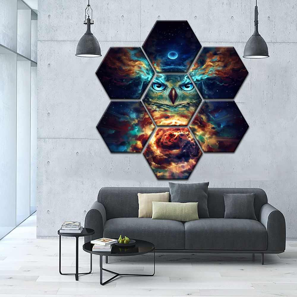 Modular Picture One Set 7 Pieces Eagle Animal Poster Wall Art Home Decorative Canvas Print Psychadelic Starry Sky Cloud Painting