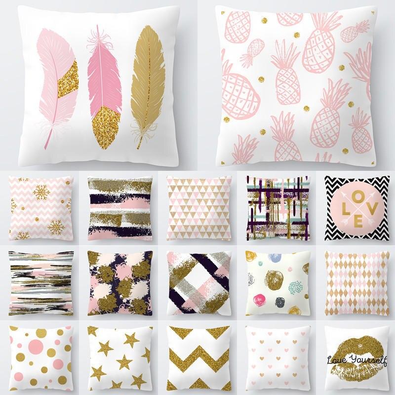1Pcs Decorative Pillow Simple Pink Gold Series Polyester Cushion Cover Home Sofa Seat Decor 45*45cm Pillowcase Funda Cojin 40812