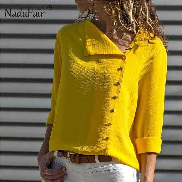 fb829bffad2651 Nadafair Yellow Long Sleeve Chiffon Shirt Female Fashion 2019 Button Spring  Autumn Women Blouse And Top
