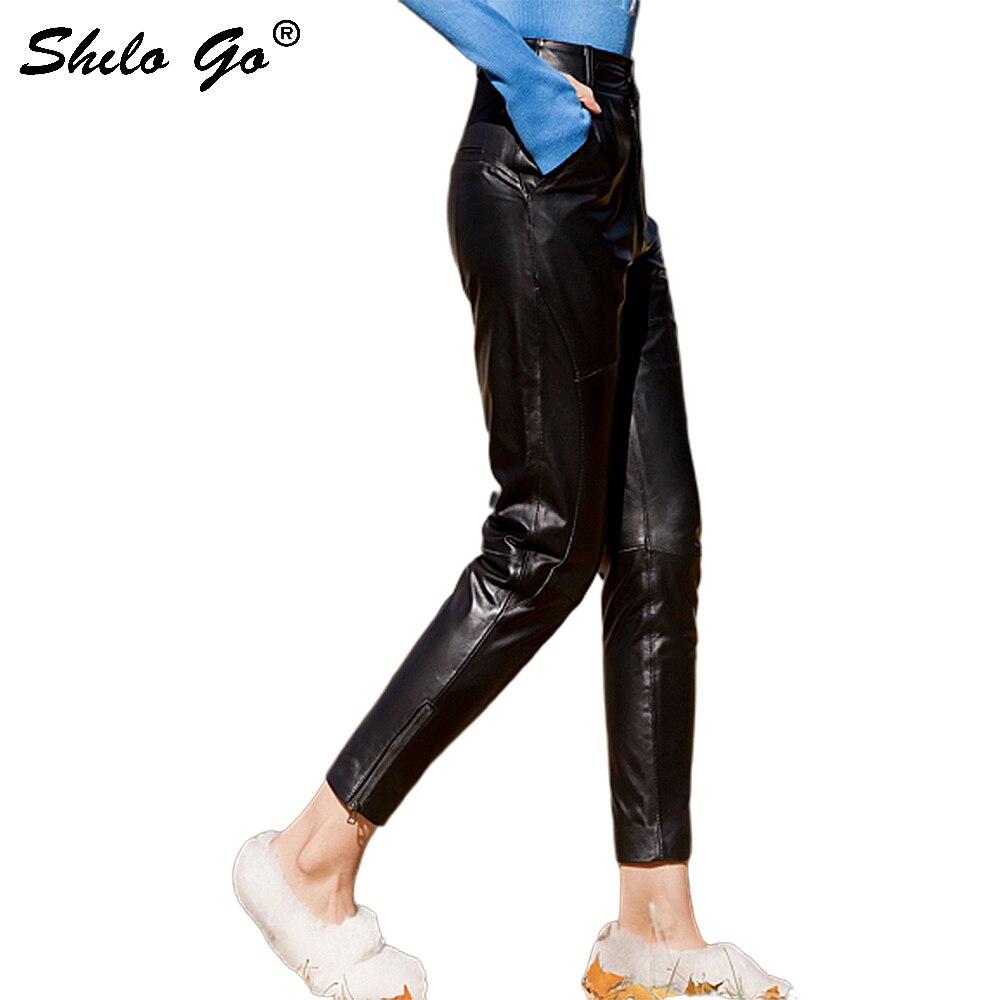 Streetwear Leather Pants Womens Casual Single Button High Waist Sheepskin Genuine Leather Pencil Pants Concise Female Capris