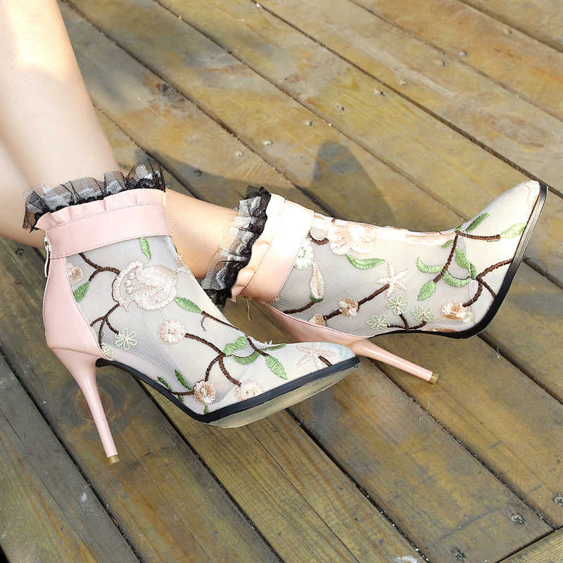 ac1a5e46fad Lace Shoes Ankle Booties Pink Summer boots flower Mesh Bridal Wedding Boots  9cm thin High Heel shoes woman Big Size 42