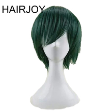 HAIRJOY الشعر الاصطناعية رجل النعناع الأخضر الطبقات قصيرة مستقيم الذكور شعر مستعار تأثيري شحن مجاني 5 الألوان المتاحة