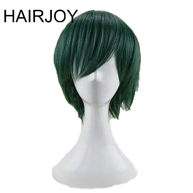 Hairjoy cabelo sintético homem hortelã verde em camadas curto em linha reta masculino peruca cosplay frete grátis 5 cores disponíveiswigs freewigs free shippingwig wig -