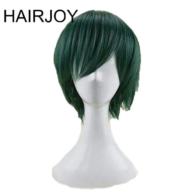 Hairjoy cabelo sintético homem hortelã verde em camadas curto em linha reta masculino peruca cosplay frete grátis 5 cores disponíveis