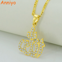 Allah Pendant Necklaces With Rhinestone Gold Color/Silver Muslim Islam Necklace Arab Jewelry Mohammed Eid #033706