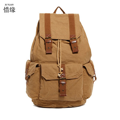 Vintage canvas Military Canvas travel Backpacks Men &Women School Backpacks men Travel bag big Canvas Backpack Large bag Khaki casual canvas women backpack simple cover large capacity travelling bag khaki blue rose red and green colors big and small