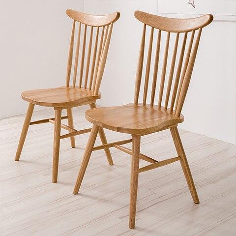 Aidai Creative Home Minimalist Scandinavian Home Chair Windsor Chair Lounge Chair  White Oak Wood Dining Chair