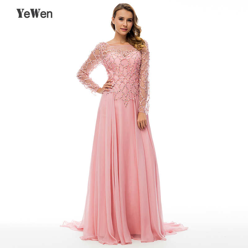 64f1b20cf6072 YeWen Beaded Pearl Long Sleeves Formal Evening Dresses Pink Chiffon 2018  Sexy Party women elegant Prom Gowns robe de soiree