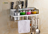 1PC Space Aluminium Kitchen Shelf Kitchen Rack Cooking Utensil Tools Hook Rack Kitchen Holder Storage 40cm