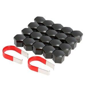 20pcs 17mm Car Plastic Caps Bolts Covers Nuts Alloy Wheel For Skoda