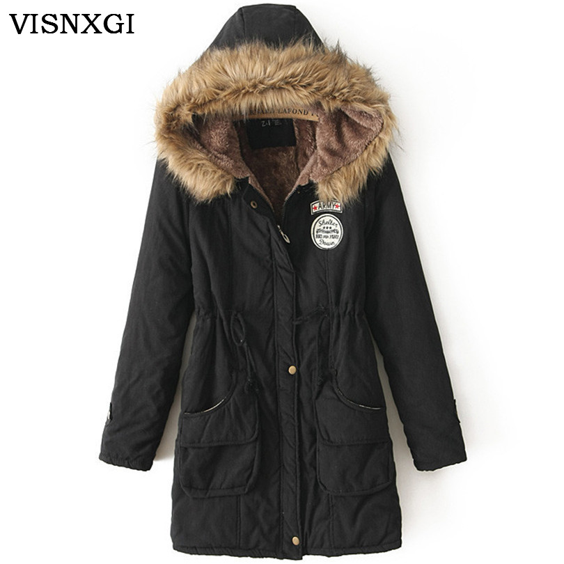 Women Winter Coat Wadded Jacket Medium-Long Plus Size Parka Fur Collar Thick Hooded Femme Snow Wear Clothing Female Coats S237 best quality yarmee multi functional condenser studio recording microphone xlr mic yr01