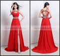 Long Red Bridesmaid Dresses 2015 For Wedding Party Bride Gown Formal Dress Beading Hollow out Back is Lace-Up ScoopTank Chiffon