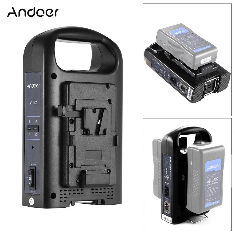 Andoer AD 2KS 2 Channel Dual Camcorder Battery Charger for V Mount Battery for DSLR Video