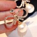Заявление большой лук имитация перл серьги для женщин bijoux позолоченные серьги ювелирные изделия оптом женский подарок