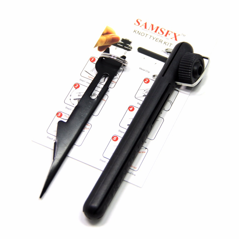 SAMSFX Fly Tying Tools Accessories Quick Knot Tying Tool and Plastic Hook Tier Kit Line Loops Nail Knotter Knot Tyer Teflo Black knot hook retractortool zinger knotter scissors nipper hook fishing nail sharpener clipper lines with fly quick pro fast hot