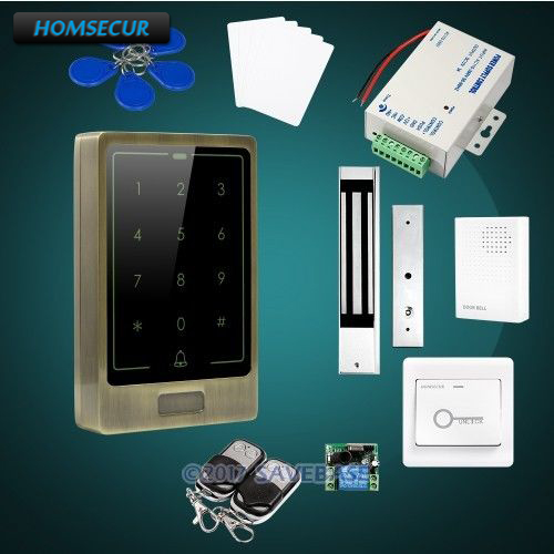 HOMSECUR Waterproof Metal Case Access Control IC Reader System+Waterproof Magnetic Lock
